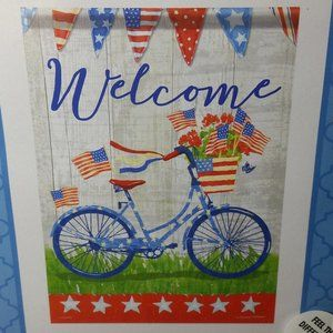 Outdoor Garden Flag Double Sided Welcome Bicycle